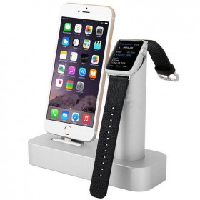 Aluminium Dual Mount Holder for Apple Watch and Charging Dock Charger Station for iPhone 6 6 plus