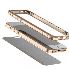 Leather Back + Aluminum Metal Bumper Frame Case Cover For iPhone SE Skin