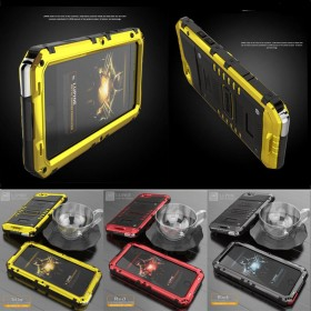 Shock proof Heavy Duty Armor Tempered Glass Metal Case Cover For iPhone 7 7 Plus