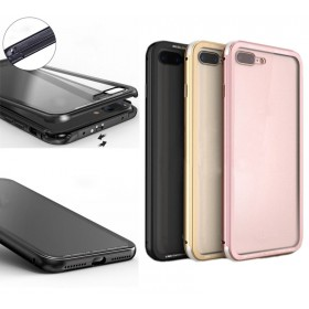 Luphie Aluminum Bumper Frame Toughened Back Glass Cover Case For iPhone 7 Plus