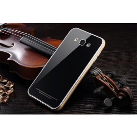 Aluminum Metal Bumper With Tempered glass Back Plate Cover For Samsung Galaxy E7