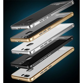 LUPHIE Luxury Metal Bumper Frame +Tempered Glass Cover Case For HUAWEI P9