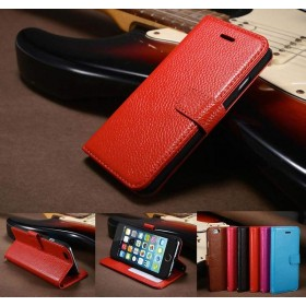 Cowhide Leather Flip Magnetic Wallet Case Cover for iPhone 6