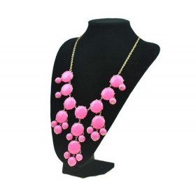 fashion pink bib necklace