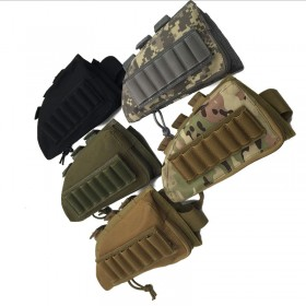 Tactical Rifle Butt Stock Cheek Rest Bag Shell Ammo Pouch Holder Right Hand