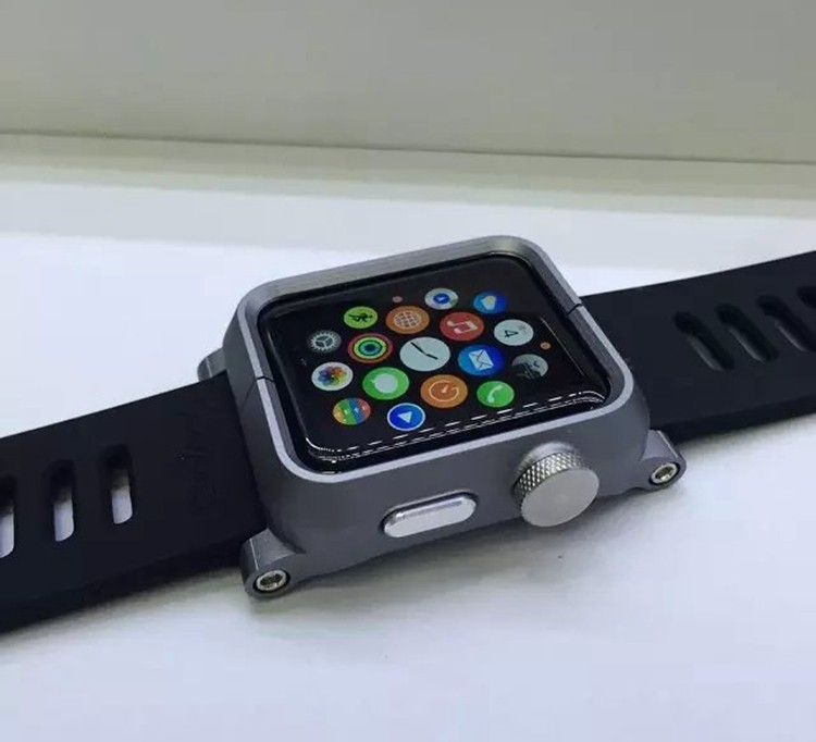 best website 02057 e533e Silicone Wrist Strap Watch Band + Metal Frame Case For Apple Watch ...