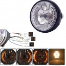 "Motorcycle Light head lamp 7""Amber 26 LEDS 35W Round Headlight with turn signal"