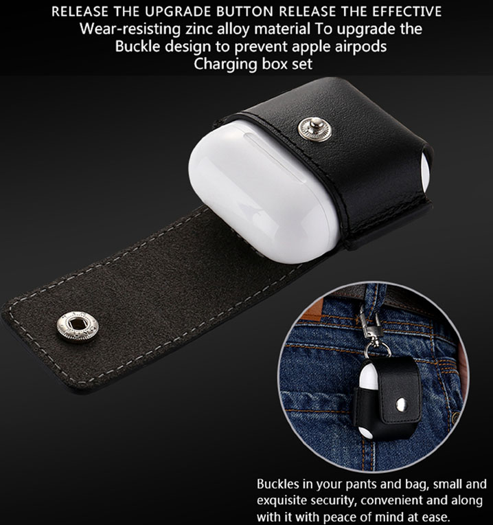 Premium PU Leather Case Cover Pouch Portable Bag Charging Case for Apple AirPods