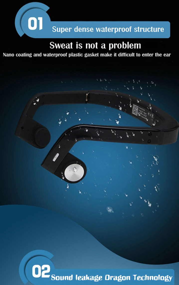 Wireless Bluetooth 4.0 Bone Conduction Headphone Stereo HI-FI Headset With Mic