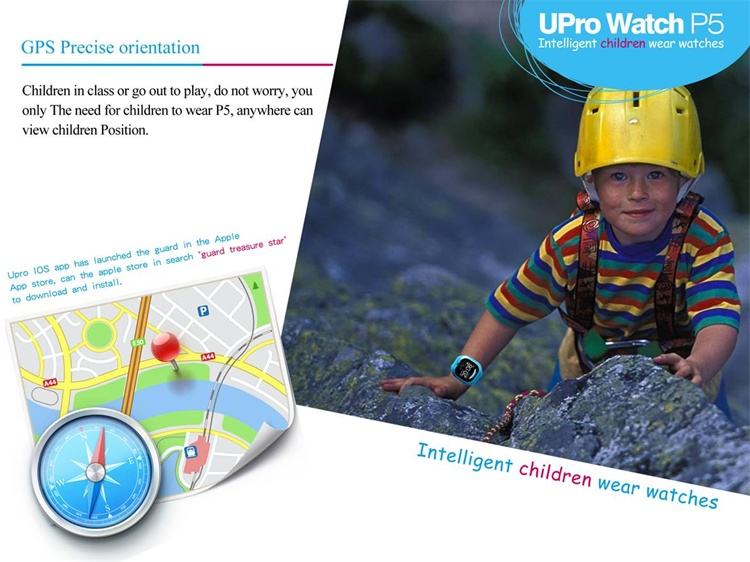 UPro P5 Children Watch GPS Tracker Double Locate Wifi Position Monitor Anti-lost