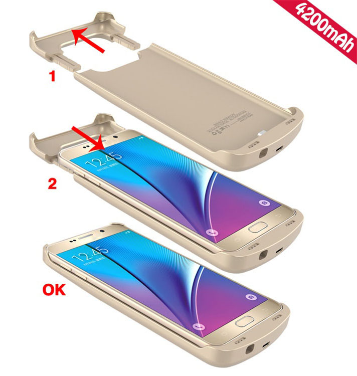 External Backup Battery Power back case for Samsung Galaxy S6