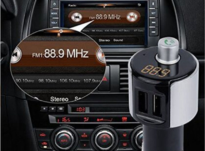 Car Bluetooth FM Radio Transmitter Handsfree Kit w/Mic Phone USB Charger Adapter