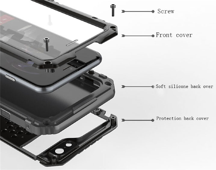 Waterproof Shockproof Aluminum Gorilla Glass Metal Case Cover For iPhone 7 7+ 6
