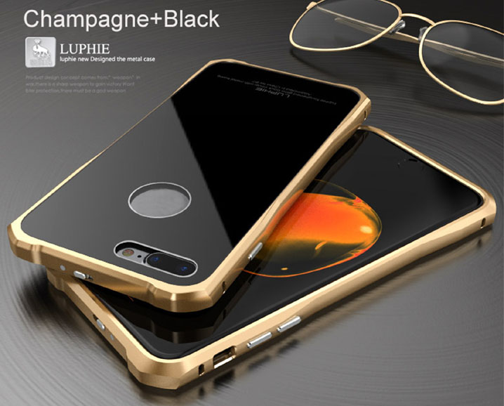 Luphie Aluminum Metal Frame Gorilla Glass Case Cover Skin For iPhone 7 7 Plus