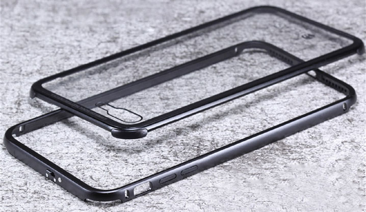 Luphie Aluminum Bumper Frame Toughened Back Glass Cover Case For iPhone 7 7 Plus