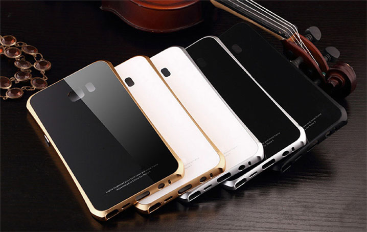 Aluminum Metal Bumper +Gorilla Glass Stand Case Cover for Samsung Galaxy Note 5