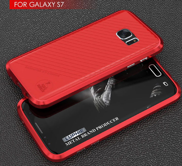 Luphie Aluminum Bumper + Leather Back Cover Case For Samsung Galaxy S7/S7 Edge