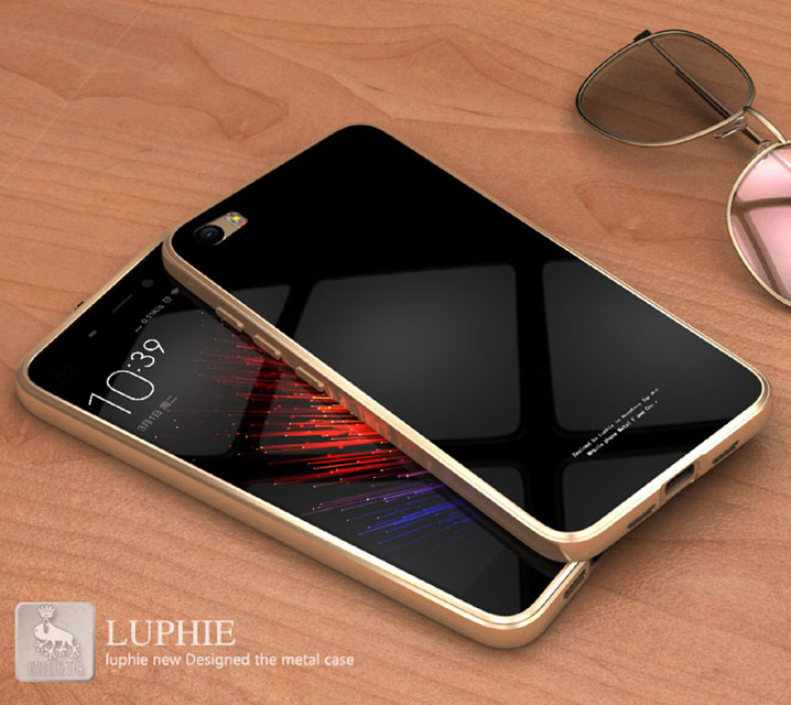 Luphie Aluminum Metal Bumper+Tempered glass Back Plate Cover case for XIAOMI MI5