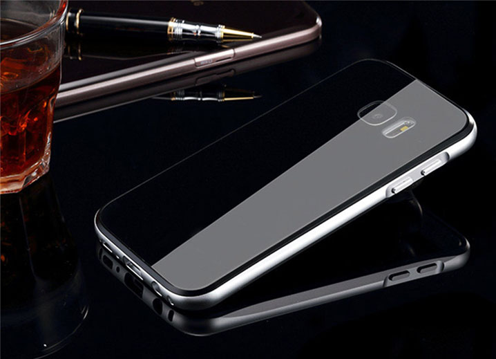 Luphie Aluminum Metal Bumper+Tempered glass Back Plate Cover case for Samsung Galaxy S7