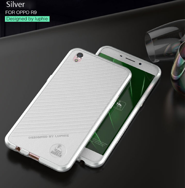 Luphie Leather Back + Aluminum Bumper Frame Case for OPPO R9 /OPPO R9 PLUS