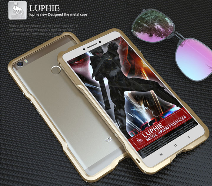 Luphie Aluminum Bumper Frame Armor Case + Leather Back Cover For Xiaomi Mi Max