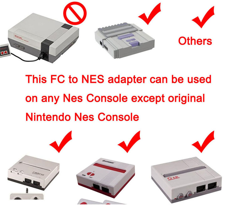 Famicom to Nes 60 To 72 Pin Adapter Converter For Nintendo NES Console System