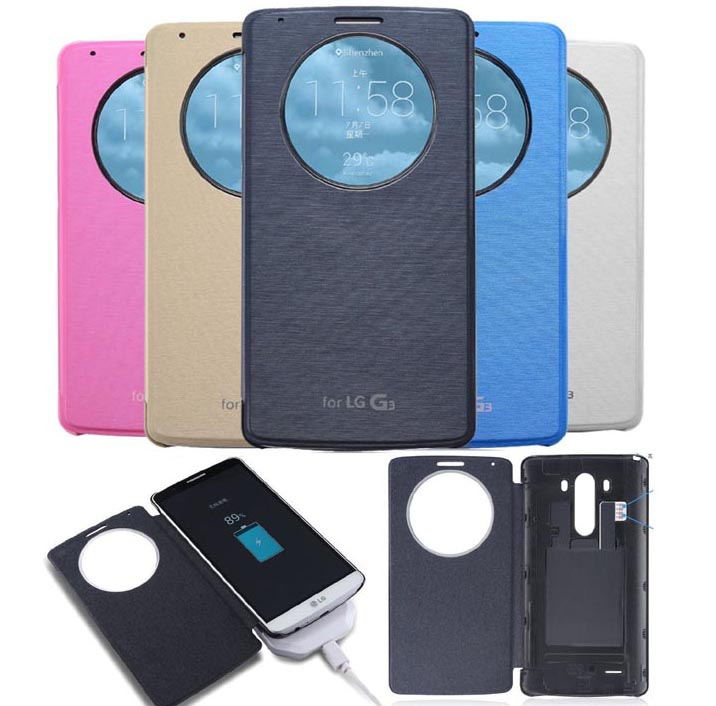 LG G3 Wireless NFC Qi Charging Receiver Cover Flip Smart Circle Window Case
