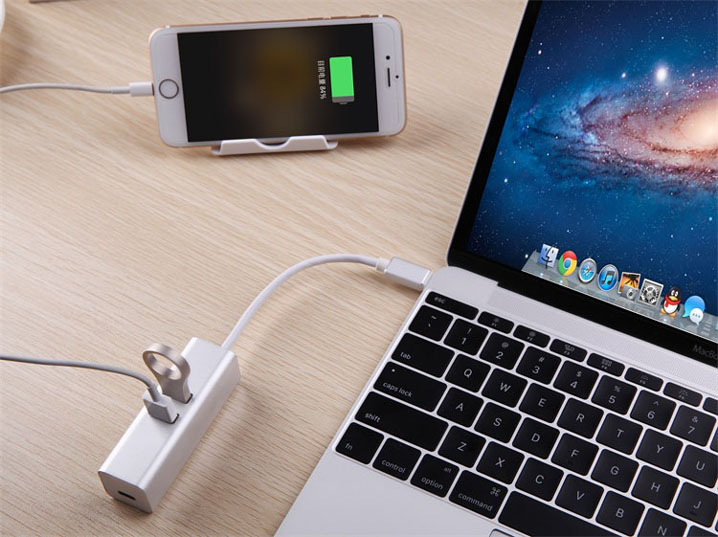 Type C USB-C 3 Ports Hub Data Sync Charging Adapter for MacBook Air