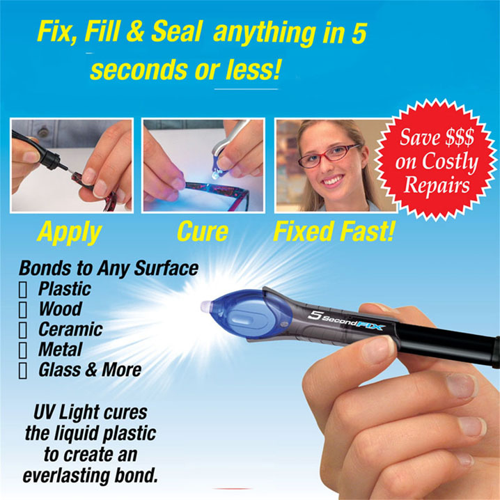 5 Second Fix-As Seen On TV UV Light Repair Tool Liquid Plastic Weld Pen Wood