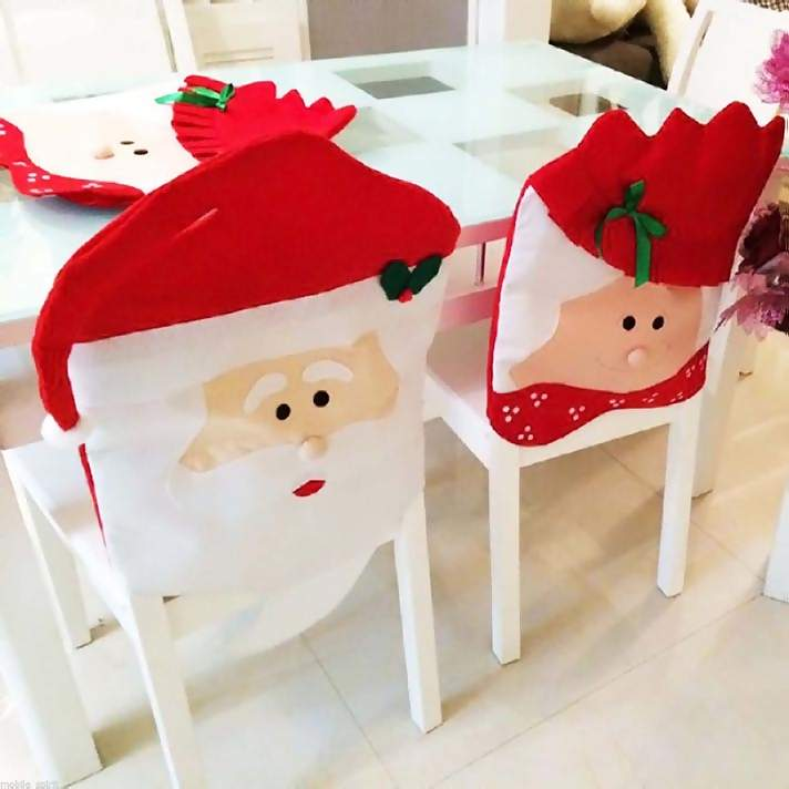 Santa Claus Hat Chair Back Cover Christmas Party