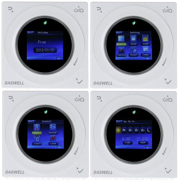360° wheeling button TFT color screen digital Programmable electric room heating thermostat